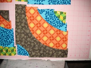 """A bit wonky after sewing it all together. You can see how I lost the 3/8"""" on each level as the pieces got shorter..."""