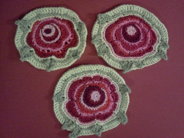 Free-form crocheted roses
