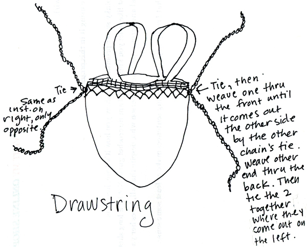 Instructions for installing a drawstring.